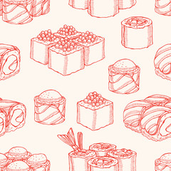 seamless background with sketch sushi