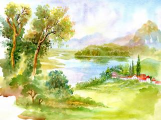 Watercolor river nature landscape