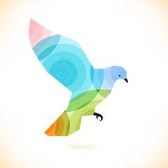 Poster Geometric animals decorative bird. Pigeon, dove.