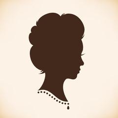Retro woman head silhouette. Vector Isolated woman half face