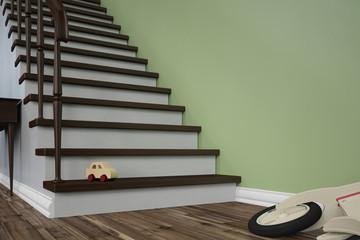 Unfallgefahr auf Treppe mit Spielzeug