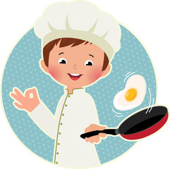 Cook virtuoso flipping an fried eggs or a omelette
