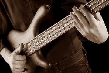 funk bass in sepia