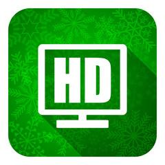 hd display flat icon, christmas button