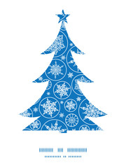 Vector falling snowflakes Christmas tree silhouette pattern