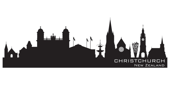 Christchurch New Zealand city skyline vector silhouette
