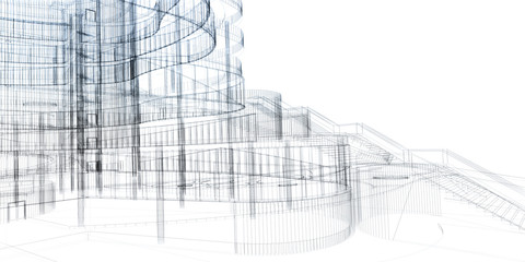 Abstract architecture wireframe, render of building