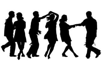 Girl and man dance
