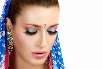 Ethnic Beauty Fashion. Hindu Woman. Colorful Makeup
