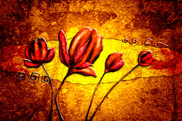 Abstract flower oil painting