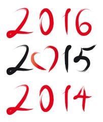 Jahreszahl 2014 - 2015 - 2016