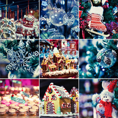 christmas decoration, collage