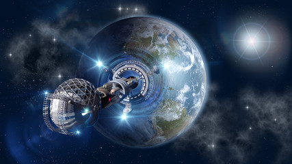 Spaceship with forming warp-drive, leaving Earth