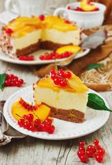 peach cake with cream