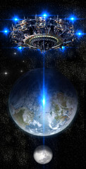 Alien mother-ship UFO nearing Earth, with rising moon