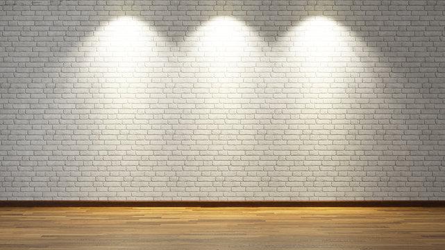 white brick wall with three spot lights