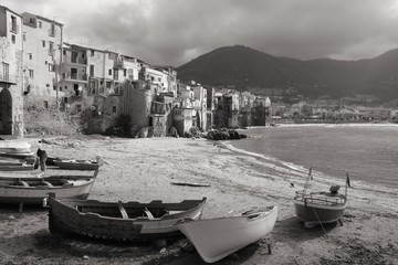 Cefalu in Sicily, Italy. Black and white image