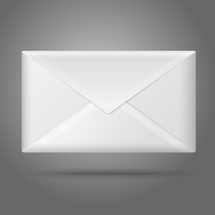 Blank vector white closed envelope. Isolated