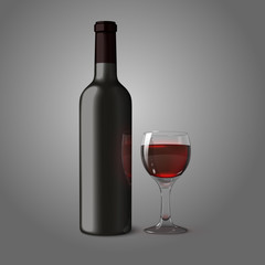Blank black realistic bottle for red wine with glass, isolated.