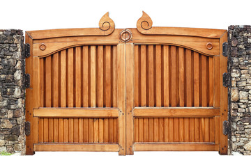 Wooden gate isolated on white background