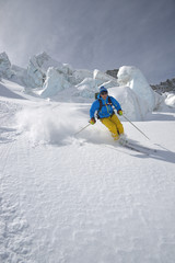Freeride sky in glacier - Stock Image