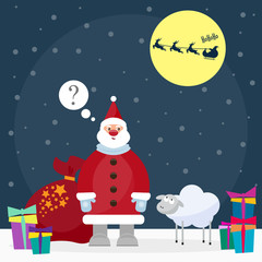 funny cartoon winter holidays background with Santa and cute she