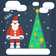 funny cartoon winter holidays background with Santa and spruce m