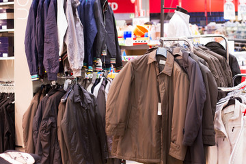 autumn and winter jackets for sell in supermarket
