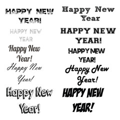 Happy New year set text illustration over color background