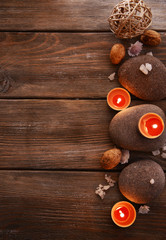 Composition of spa treatment on wooden background