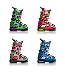 Ski boots set, sketch for your design