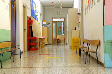corridor of a nursery school during the holidays without childre