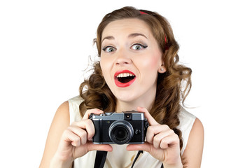 Image of the happy woman with retro camera