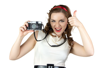 Photo of the pin up woman with camera