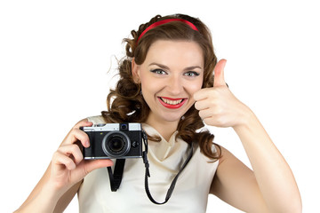 Image of the pin up woman with camera