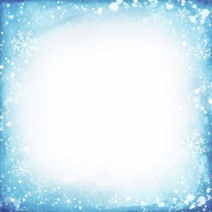 Frame of snowflakes on a watercolor background.