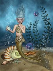 Syrenka na dnie morza z muszlami i kolorowymi rybami