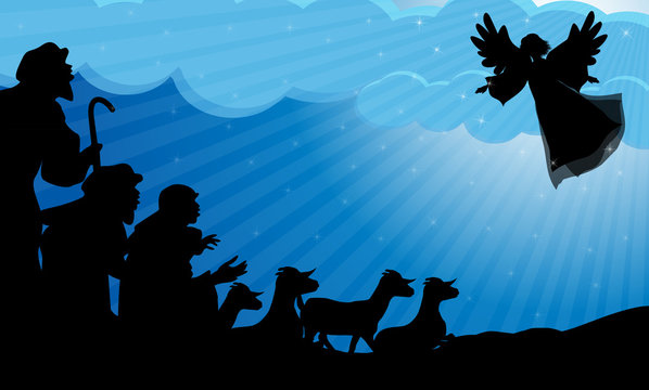 Angel announced to the shepherds the birth of Jes