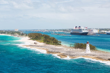 Lighthouse and Two Cruise Ships