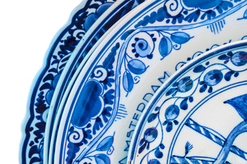 Genuine ancient Dutch blue and white porcelain dishware