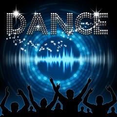 Dance poster blue graphic digital sound