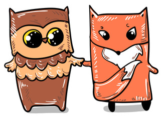 woodland animals vector. Owl and fox vector.