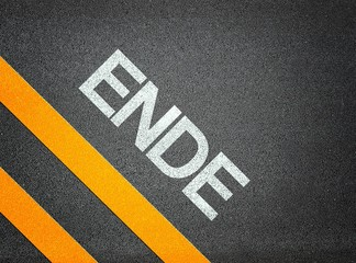 German Ende End Text Writing Road Asphalt