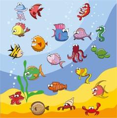Набор милые рыб мультфильмов