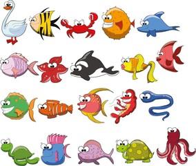 Набор милый мультфильм животных и рыб