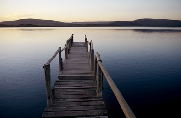 jetty leading into a tranquil river
