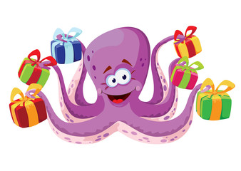 octopus and gifts boxes