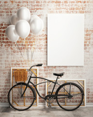 mock up poster with bicycle and balloons in loft interior