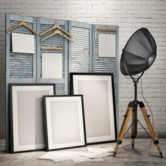 mock up posters with industrial lamp in loft interior background