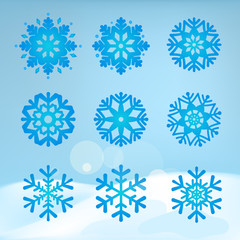 Collection of snowflakes on a winter background